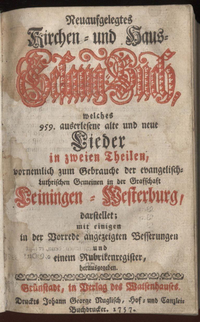 Grünstadter Gesangbuch, 1757