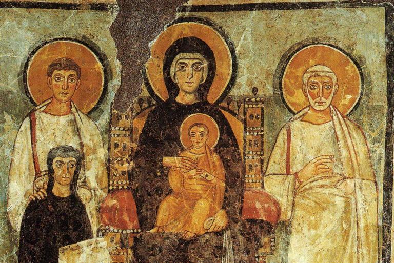 Богоматерь с младенцем Христом на троне с избранными святыми