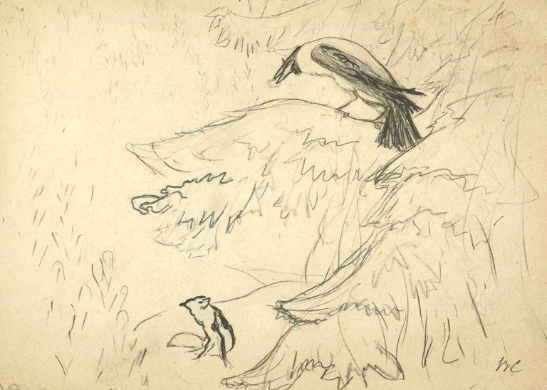 Иллюстрация к басне И.А. Крылова «Ворона и лисица»