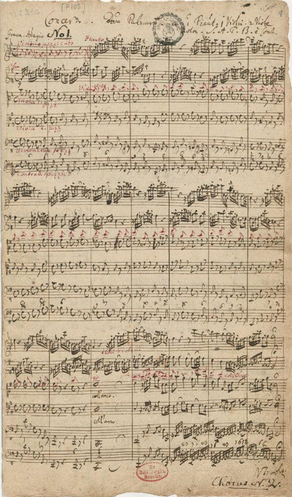 Первая страница партитуры кантаты BWV 182 «Гряди, Небесный Царь» (1714)