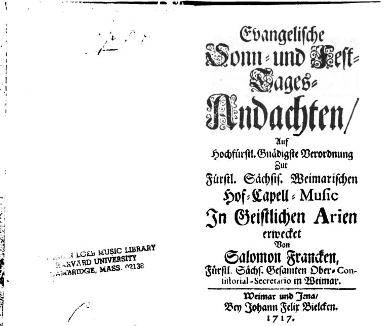 Титульный лист сборника стихов Саломона Франка (1659–1725) «Евангелические молитвы на воскресные и праздничные дни…»