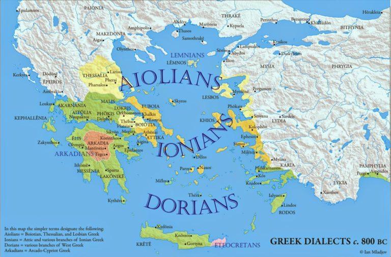 Карта древнегреческих диалектов, архаический период (800 г. до н.э.)