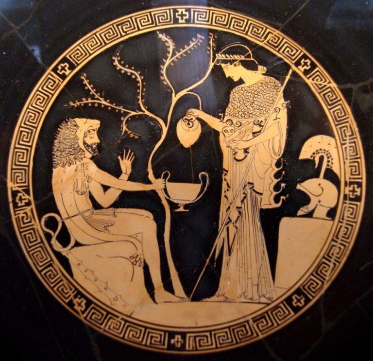 Геракл дарит яблоки Гесперид Афине
