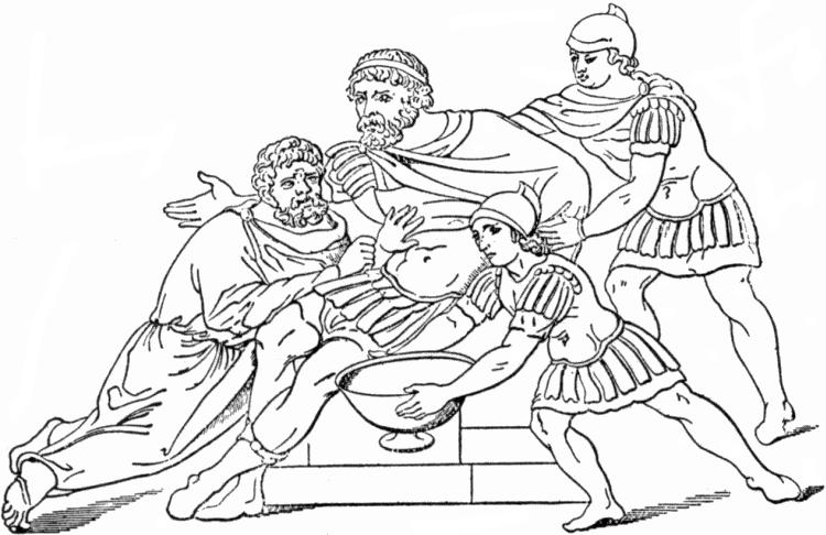 Махаон, сын Асклепия, врачует рану царя Менелая