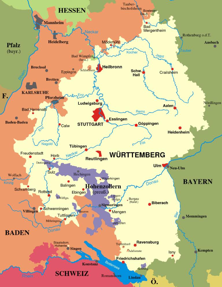 Карта королевства Вюртемберг в 1810 – 1945 гг.