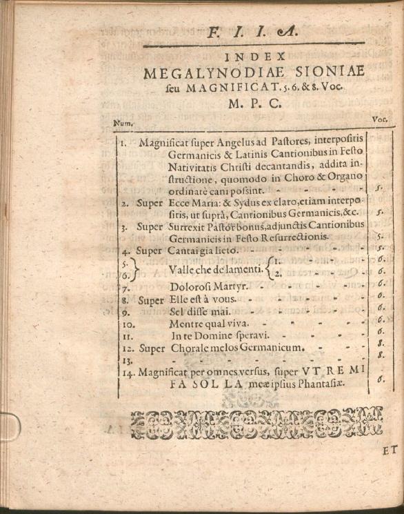 Оглавление сборника Megalynodia Sionia (1611)