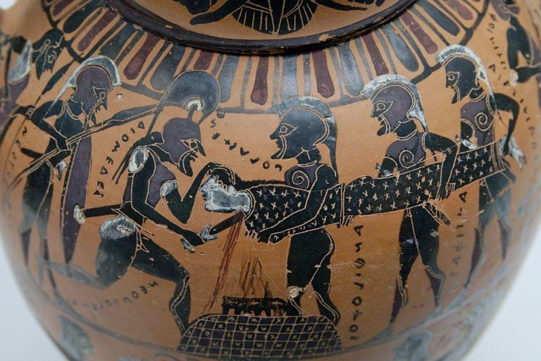Греки приносят в жертву дочь троянского царя Приама Поликсену (XIII—XII вв. до н. э.)