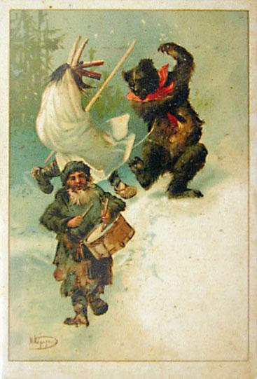 Старинная открытка на тему святочных гуляний
