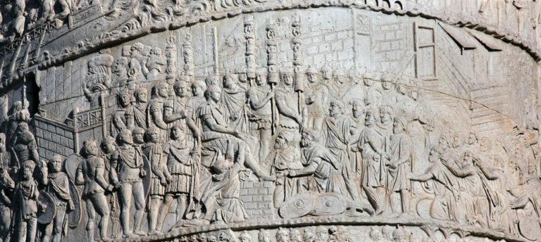 Император Траян принимает посольство даков после победы в Первой дакийской войне (102 г. н.э.)