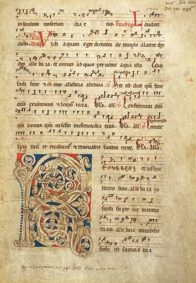 Средневековая латинская рукопись секвенции Victimae paschali laudes