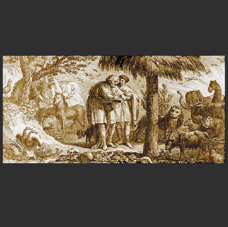 Аристотель изучает животных. Гравюра 1791 г.
