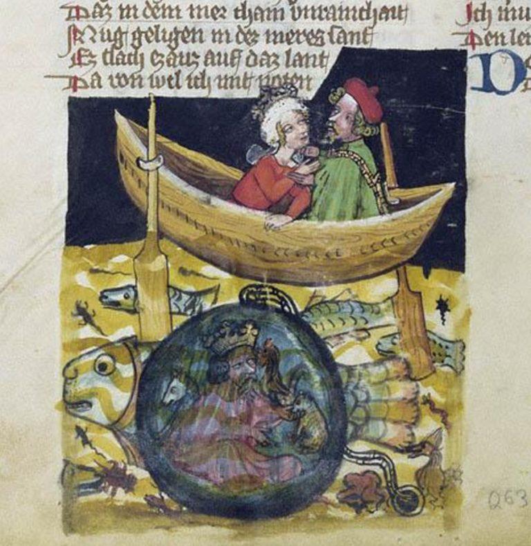 Аристотель погружает Александра Македонского под воду