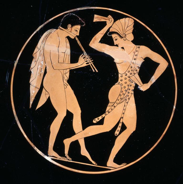 Авлет и танцовщица с кроталами (ок. 520 г. до н.э.)