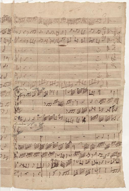 BWV 75. Начало Симфонии (№ 8, нижняя часть страницы)