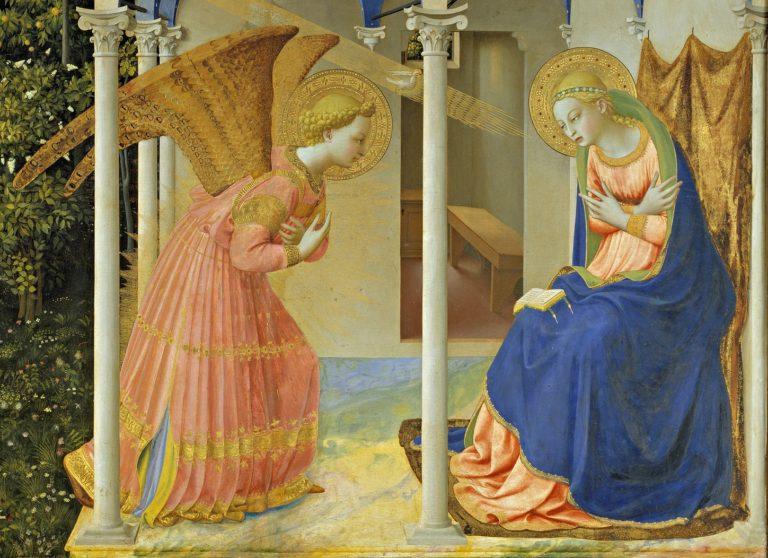 Благовещение Пресвятой Богородицы. Деталь (фигуры). 1430-1432