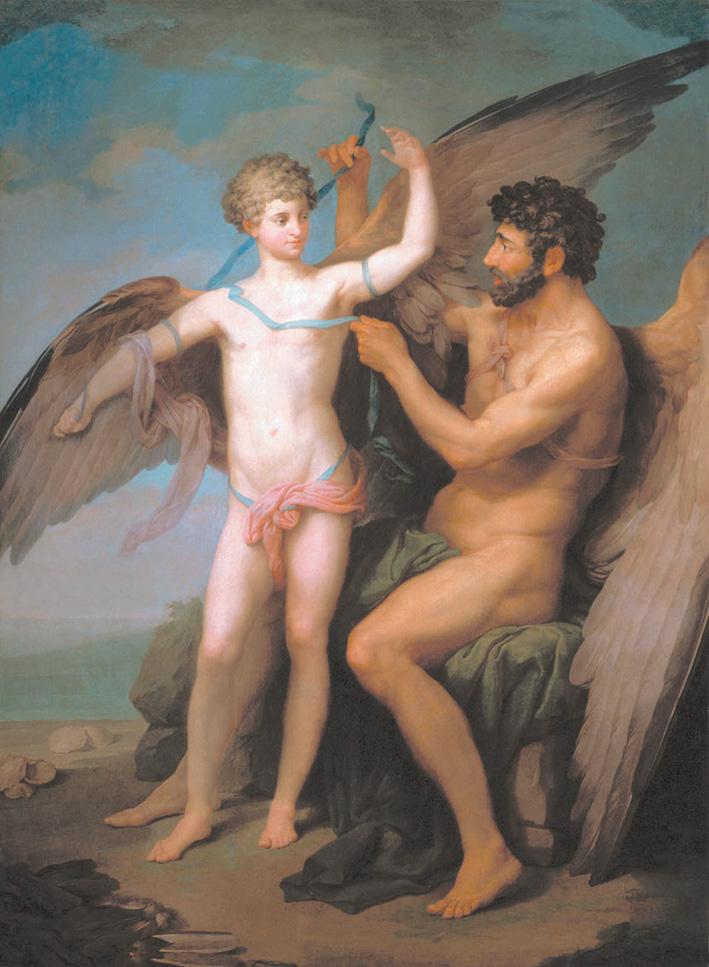 Дедал привязывает крылья Икару. 1777