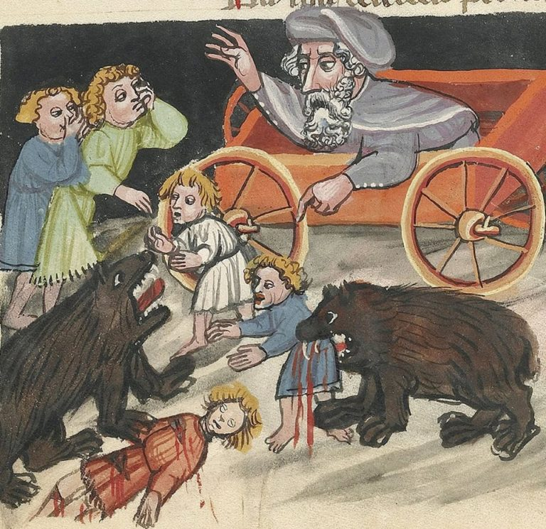 Медведи поедают детей, смеявшихся над лысиной пророка Елисея