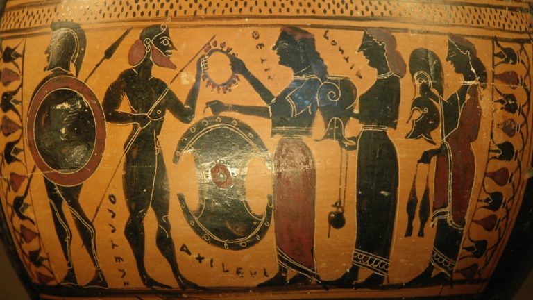 Фетида (Тетис) вручает доспехи своему сыну Ахиллу