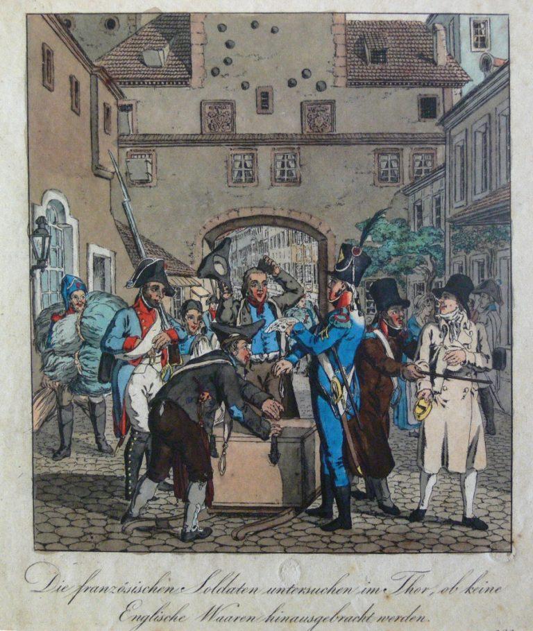 Французские солдаты проверяют товары в Лейпциге в 1806 году в поисках британской контрабанды