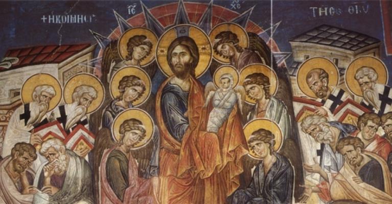 Фреска Успения Богоматери. XIV век. Монастырь Ватопед на Афоне