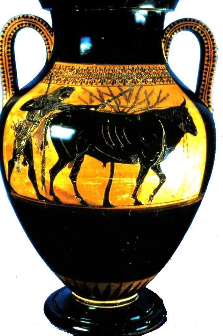 Геракл ведет быка для жертвоприношения (конец VI в. до н.э.)