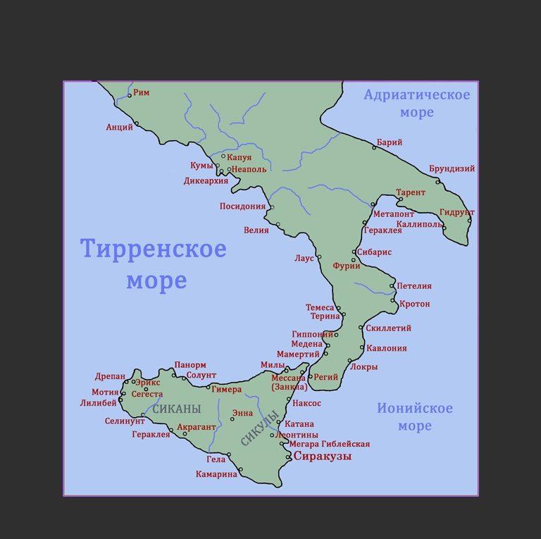 Карта Великой Греции