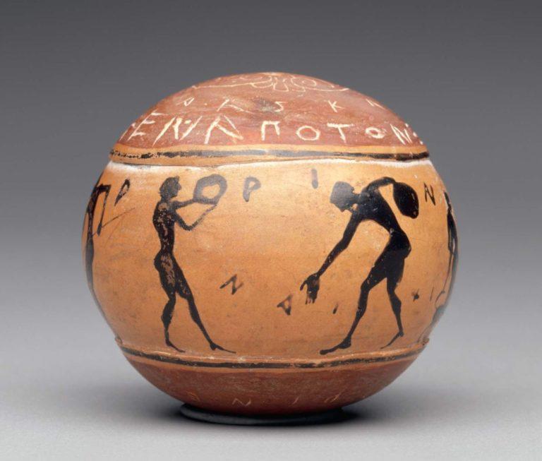 Керамический шар со сценами из палестры. Ок. 500 г. до н.э.