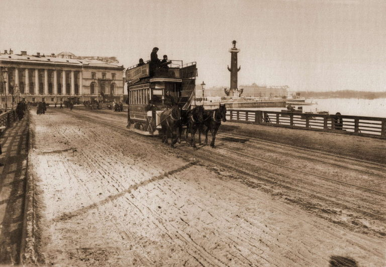 Конка на Дворцовом мосту. 1900-е