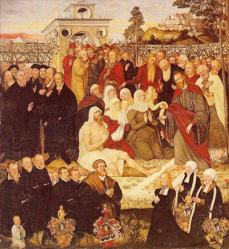 Лютер (слева) и Лазарь, воскрешаемый Иисусом из мертвых