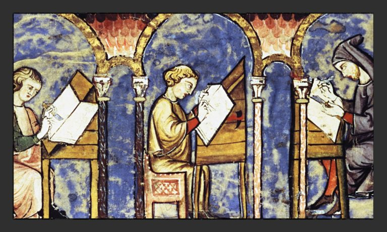 Средневековые монахи в скриптории