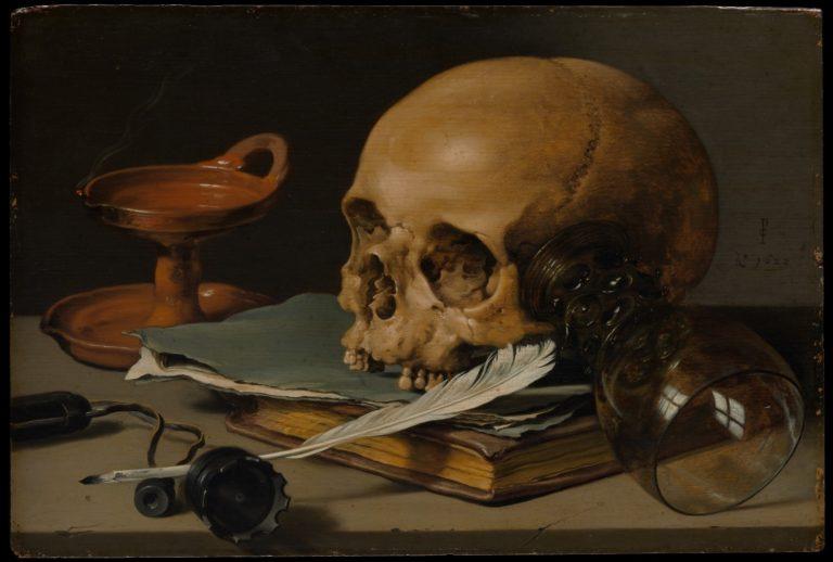 Натюрморт с черепом и пером (1628)