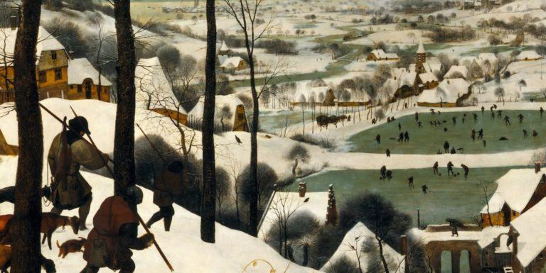 Охотники на снегу. Деталь (ловушка и каток). 1565