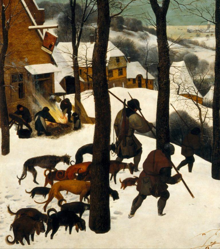 Охотники на снегу. Деталь (огонь и охотники)