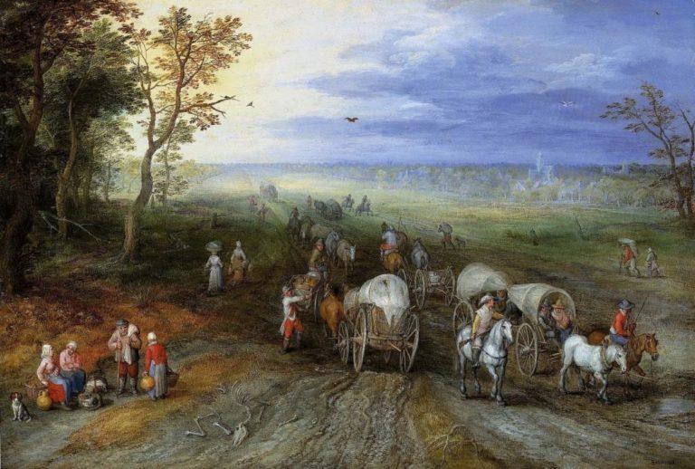 Пейзаж с путниками