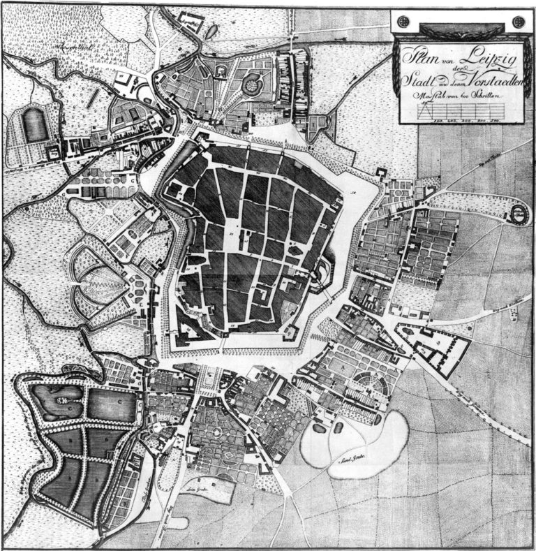 План Лейпцига в XVIII столетии
