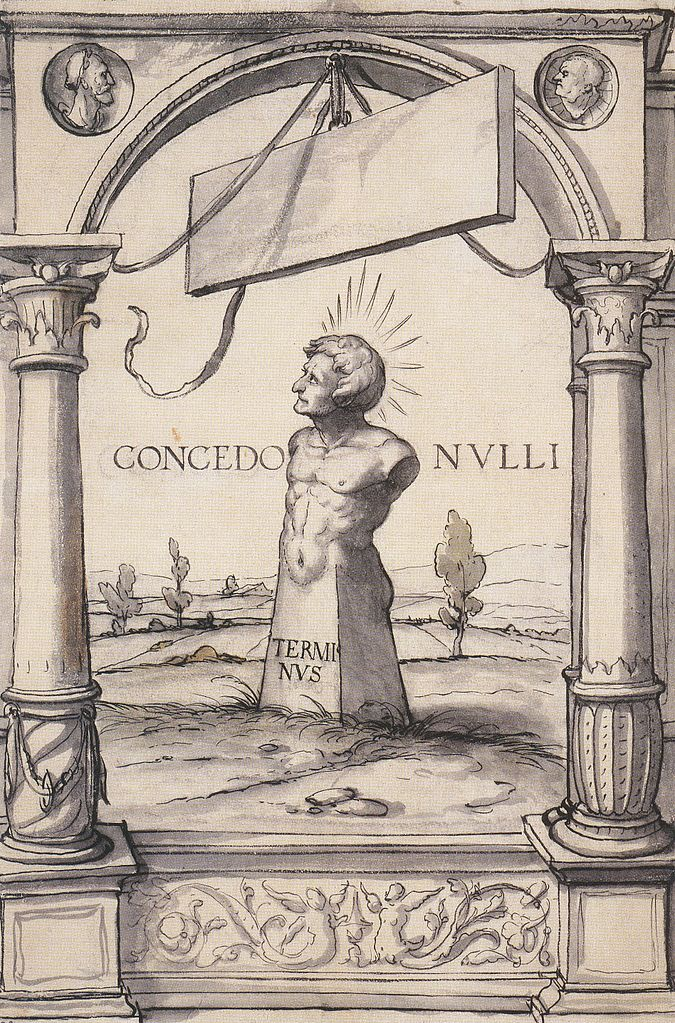 Проект витража с бюстом бога Терминуса. 1525