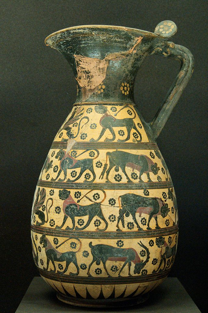 Протокоринфская ольпа с изображением животных и сфинксов. Ок. 650—630 гг. до н. э. Лувр, Париж