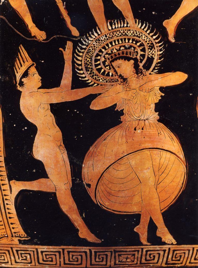 Сцена из сатировской драмы в Спарте (ок. 400 г. до н.э.)