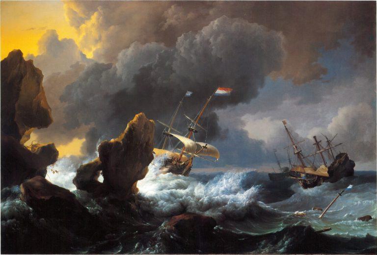 «Суда терпят бедствие у скалистого берега» (1667)