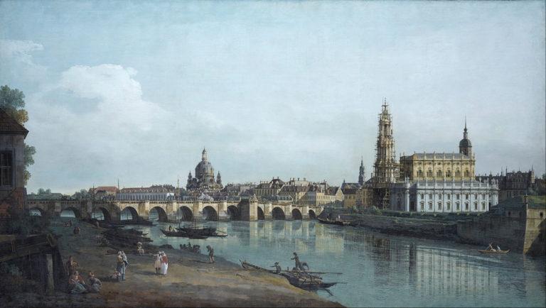Вид на Дрезден с правого берега Эльбы, ниже моста Аугуст (1748)