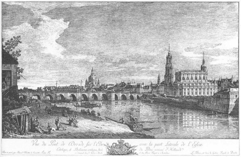 «Вид на Дрезден с правого берега Эльбы у моста Августа» (1749)