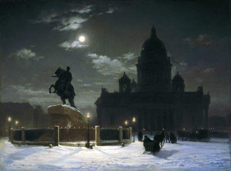 Вид памятника Петру I на Сенатской площади в Санкт-Петербурге. 1870