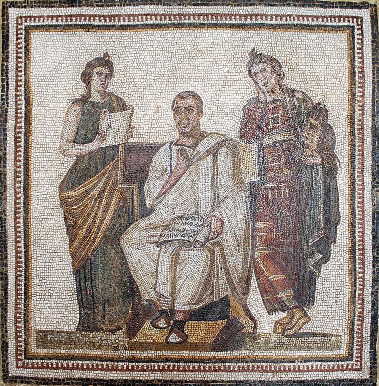 Виргилий держит свиток с «Энеидой»