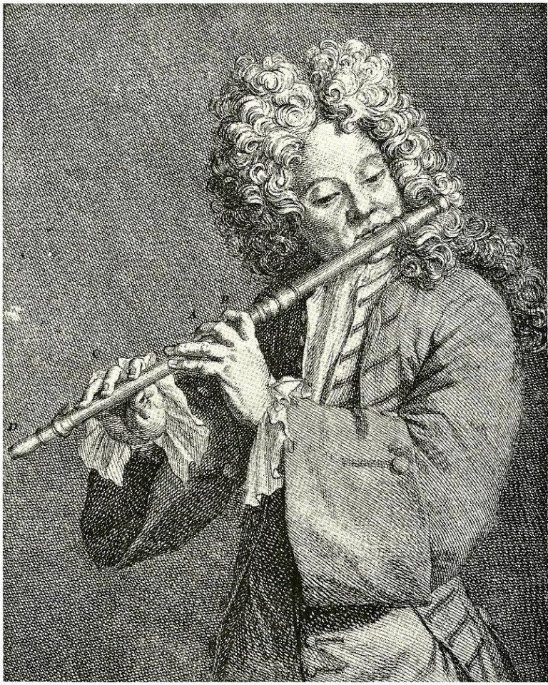 Жак Оттетер (фр. Jacques-Martin Hotteterre; 1674 – 1763) с флейтой-траверсо, французский композитор и флейтист