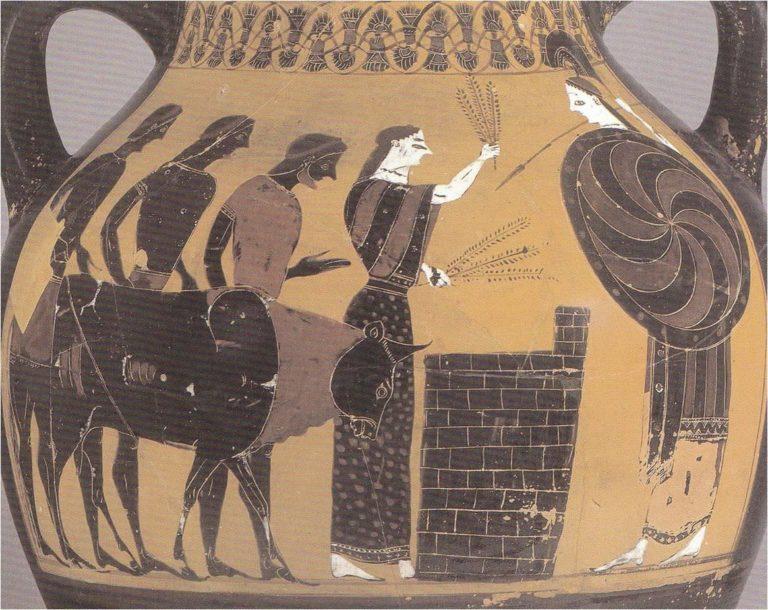 Жрица приносит в жертву Афине быка (ок. 550-525 гг. до н.э.)