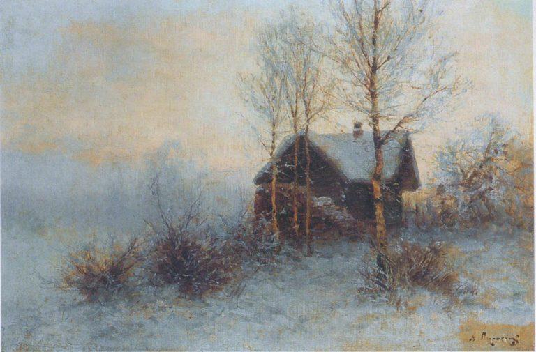«Зимний пейзаж с избушкой»