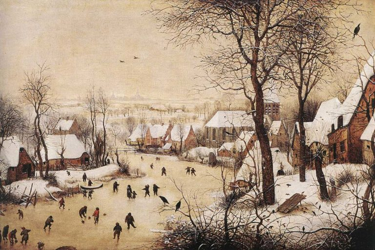 Зимний пейзаж с конькобежцами и ловушкой для птиц. 1565