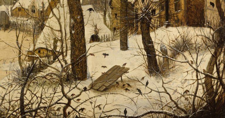 Зимний пейзаж с конькобежцами и ловушкой для птиц. Деталь (ловушка)