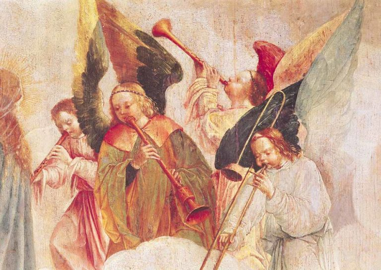 Ангелы-гобоисты. Деталь картины «Усепение Богородицы». 1520-1530