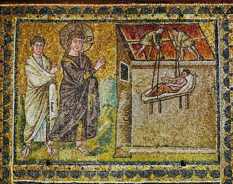 Христос исцеляет паралитика, спускаемого на постели через кровлю